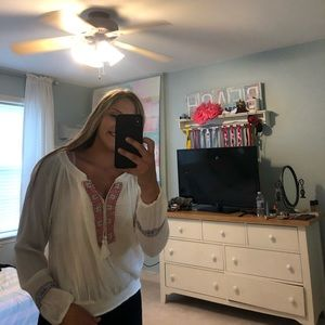 Hollister white boho long sleeve shirt